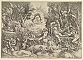 The Death of Procris; Cephalus mournig the death of Procris on the right surrounded by Cupid and mourning satyrs and nymphs, the goddess of dawn in her chariot in the background MET DP821549.jpg