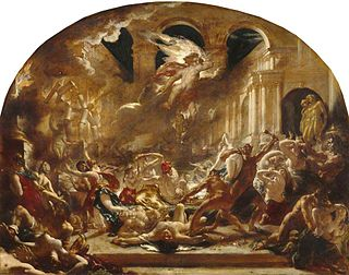 <i>The Destroying Angel and Daemons of Evil Interrupting the Orgies of the Vicious and Intemperate</i> 1832 painting by William Etty