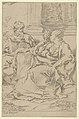 The Holy Family seated together in front of a collonade, Saint Joseph reading and the young Christ grasping the Virgin's drapery MET DP837843.jpg