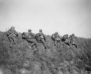 Leicester Town Rifles - Men of 4th Leicesters firing at German snipers and machine gunners on the edge of Riqueval Wood near Bohain, 10 October 1918.