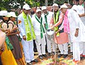 The Minister of State for Environment, Forest and Climate Change (Independent Charge), Shri Prakash Javadekar planting a sapling, in Velpur Village, Nizamabad District, Telangana. The Chief Minister of Telangana.jpg