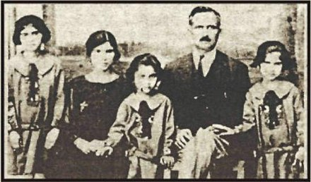 Mehmet Remzi Okan with his wife and children in 1919 during the Turkish War of Independence. The family were Turkish Cypriots who owned the newspaper Söz Gazetesi.