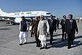 The Prime Minister, Shri Narendra Modi being welcomed by the Governor of Uttarakhand, Dr. K.K. Paul and the Chief Minister of Uttarakhand, Shri Trivendra Singh Rawat, on his arrival, at Dehradun, Uttarakhand (2).jpg