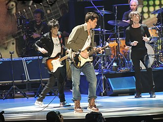 John Mayer - Mayer on stage with The Rolling Stones at the Prudential Center, New Jersey, December 13, 2012