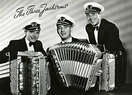 The Three Jacksons in 1957. Van links naar rechts: Piet van Gorp, Harry van der Velde, Piet Koopmans