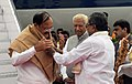 The Vice President, Shri M. Venkaiah Naidu being received by the Governor of Karnataka, Shri Vajubhai Vala and the Chief Minister of Karnataka, Shri Siddaramaiah, on his arrival, in Bengaluru, Karnataka on September 26, 2017 (1).jpg