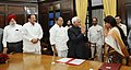 The Vice President and Chairman, Rajya Sabha, Shri M. Hamid Ansari administered the oath as Member, Rajya Sabha to Smt. Roopa Ganguly, at a Swearing-in Ceremony, at Parliament House, in New Delhi.jpg