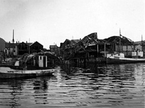SS Nordnorge (1923) - The dock area in Hemnesberget after the fighting in May 1940