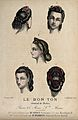 The heads of five women with braided hair dressed with flowe Wellcome V0019879EL.jpg