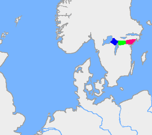 Tiveden - The old forest border between Swedes (Suiones) and Geats. Blue=Tiveden; green=Tylöskog; red=Kolmården
