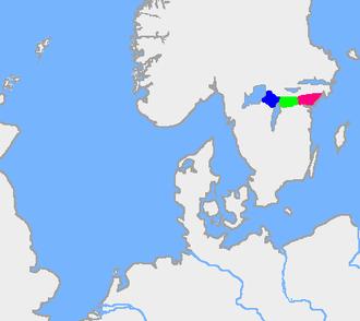 Tiveden - The old forest border between Swedes (Suiones) and Geats. Blue=Tiveden; green=Tylöskog; red=Kolmården