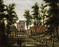 Theodoor van Heil - Park with fountain in front of a castle.jpg