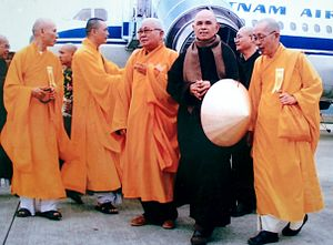 Religion and peacebuilding - Nhat Hanh at Hue City airport on his 2007 trip to Vietnam (aged 80)