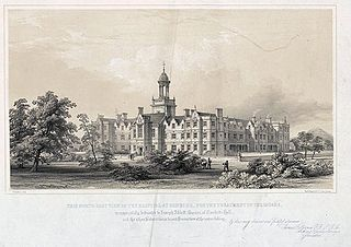 This north-east view of the hospital at Denbigh, for the treatment of the insane