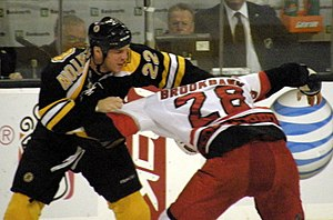 Fighting in ice hockey - Shawn Thornton (left) fighting Wade Brookbank