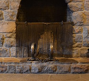 Timberline Lodge - Fire screen made from tire chains and andirons forged from old railroad rails