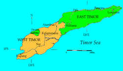Location of the City of Kupang on the island of Timor