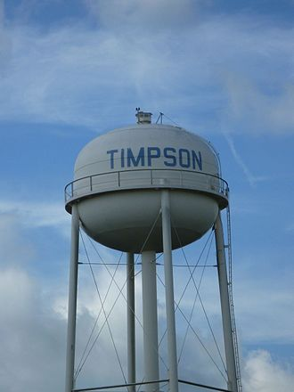 Timpson, Texas - Water tower near U.S. Route 59 (Future Interstate 69) in Timpson