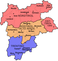 The County of Tyrol after 1918 State of Tyrol (Austria) Province of Bolzano-Bozen (Italy) Province of Trento (Italy)