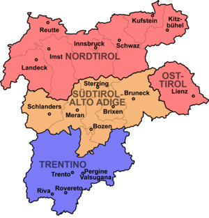 History of Trentino - Detailed map of the Euroregion Tyrol-South Tyrol-Trentino, formed by the Austrian state of Tyrol and the Italian autonomous provinces of South Tyrol and Trentino.