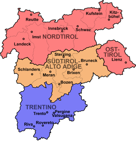 Tyrol, partitioned in 1918, parts remaining Austrian referred to as Nordtirol and Osttirol, but part of one Federal State of Tirol Tirol-Suedtirol-Trentino.png