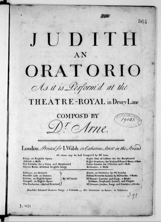 Judith (oratorio) - Title Page of the score, Judith an Oratorio.