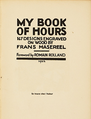 Title page of My Book of Hours by Frans Masereel 1922.png