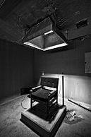 Electric chair on a low pedestal, under a light