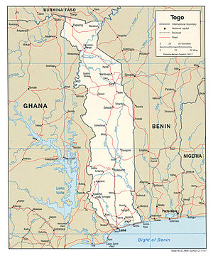 Political map of Togo, 2007, produced by the U...