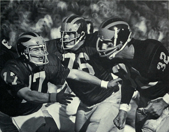 1971 Michigan Wolverines football team - Tom Slade (No. 17), Jim Brandstatter (No. 76), and Fritz Seyferth (No. 32)