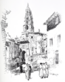 Tower of the Cathedral of Le Puy-en-Velay - drawing by Joseph Pennell.png