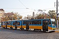 Tram in Sofia near Russian monument 076.jpg