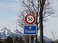Triesen Liechtenstein Ortsbeginn auf Hauptstrasse (Süd).jpg