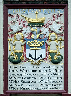 Newcastle-upon-Tyne Trinity House - The Arms of the Corporation, as displayed on a plaque in the main courtyard.