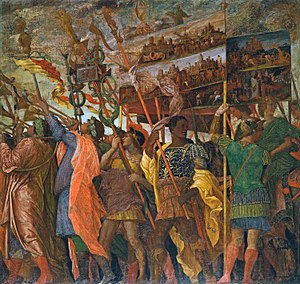 Triumphs of Caesar (Mantegna) - Picture Bearers (first canvas)