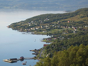 Northern Norway - The islands along the coast creates sheltered sounds on the inside, as here in Lenvik.