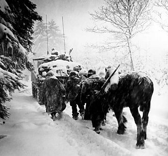 2nd Panzer Division (Wehrmacht) - Image of troops from the United States Army during the Battle of the Bulge which shows the weather conditions in which the two armies fought, including the 2nd Panzer Division.
