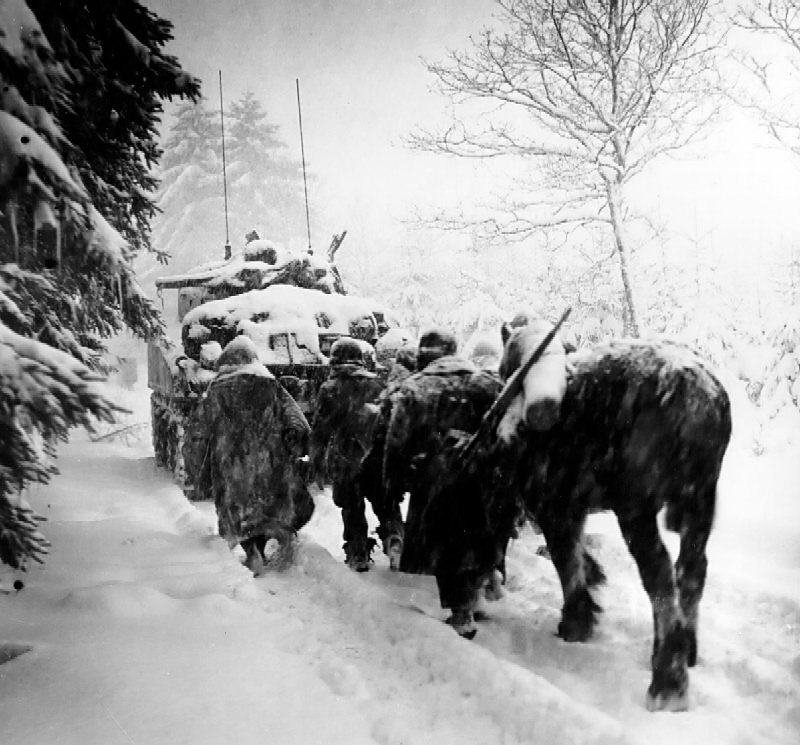Troops advance in a snowstorm