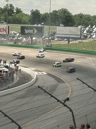 Kentucky Speedway - Brad Keselowski goes for a spin that takes out multiple cars at Kentucky Speedway in the 2013 Quaker State 400.