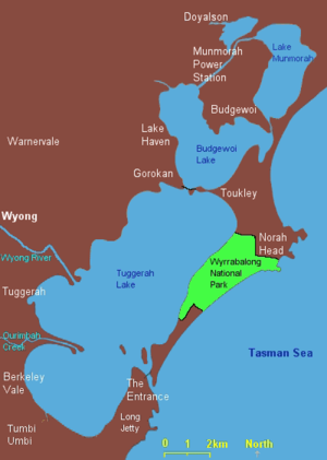Tuggerah Lake - Image: Tuggerah Lake map