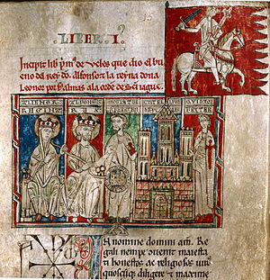 Pedro Fernández de Castro (Grand Master of the Order of Santiago) - King Alfonso VIII of Castile and Queen Eleonor Plantagenet delivering the city and the village of Uclés to the master of the Order of Santiago Pedro Fernandez de Castro v. Tumbo menor de Castilla, f. 1. (ancient codex from 13th century)
