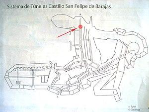 Castillo San Felipe de Barajas - Map of the underground tunnels