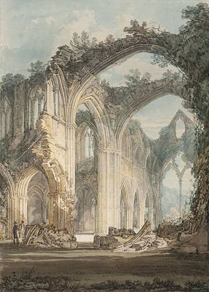 Wye Valley - The Chancel and Crossing of Tintern Abbey, Looking towards the East Window by J. M. W. Turner, 1794