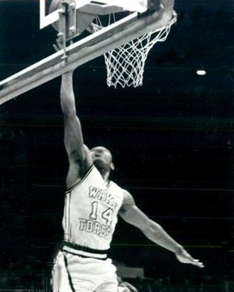 Muggsy Bogues - Bogues making a layup for the Wake Forest Demon Deacons.