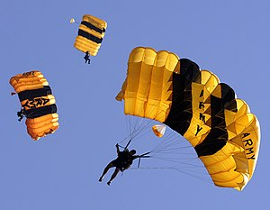 International Military Sports Council - U.S. Army Golden Knights Parachute Team competes in the accuracy competition at the 2007 Military World Games, Hyderabad, India