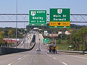 U.S. Route 30 (Martin Luther King Jr. Freeway) near the Ohio 13 (Main Street) exit in Mansfield.