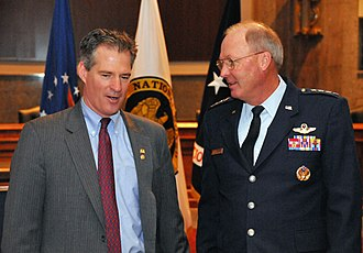 Scott Brown (politician) - Senator Brown speaking with Chief of the National Guard Bureau General Craig R. McKinley at the Senate National Guard Caucus in 2011