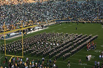 Band of the Fighting Irish - The Notre Dame Marching band performs at the end of a football game