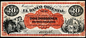 Currency of Uruguay - 20 Pesos, Banco Oriental (1867)