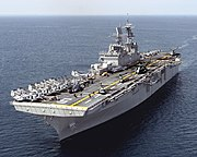 USS Bataan (LHD-5), a Wasp class amphibious assault ship.